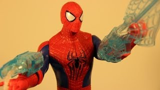 the amazing spider man 2 triple attack electronic talking spiderman movie toy review