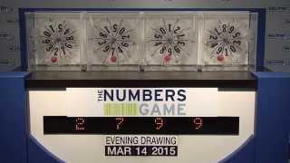 Evening Numbers Game Drawing: Saturday, March 14, 2015