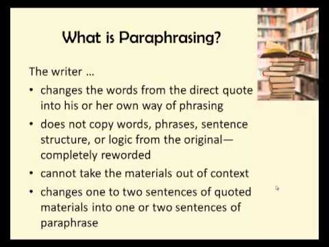Exercise paraphrasing summarizing
