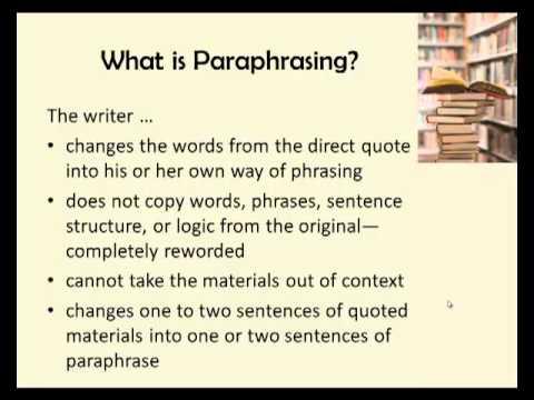 Paraphrasing Exercise Video ENG 105 YouTube