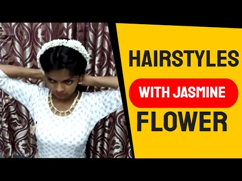 3 Very Beautiful Self Hairstyles with Jasmine flower. Hairstyles for  Party/Weddings/Receptions. thumbnail