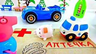Видео с игрушками. Авария на дороге. Скорая помощь для кролика Моланга.(Видео для самых маленьких! Автомобиль Свинки Пеппы остановился на светофоре - горел красный, как вдруг кто-т..., 2016-04-12T07:03:40.000Z)