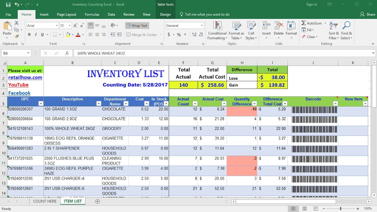 inventory cycle count excel template