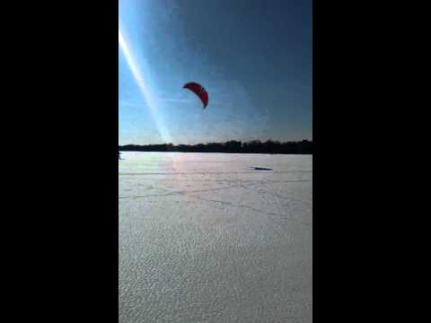 Kite Skiing on Lake Calhoun - Minneapolis, MN  2/2012