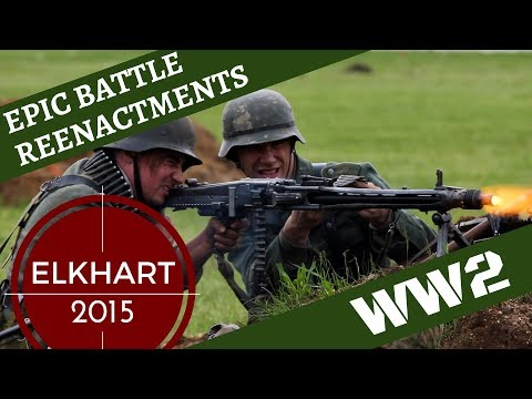 Epic WW2 Reenactment [with Aircraft] -- Elkhart 2015