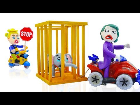 SUPERHERO BABY POLICE STOPS ELEPHANT CATCHING 💖 Play Doh Cartoons For Kids