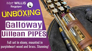 Unboxing! Full Set of Galloway Uilleann Pipes made from ebony, brass, and purpleheart wood!