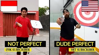 Meniru WATER BOTTLE FLIP Seperti DUDE PERFECT #YtCrash