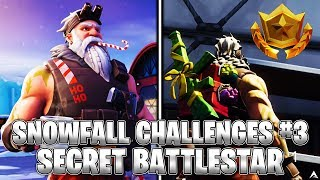 SECRET BATTLESTAR! Week 3 Snowfall Challenges (Fortnite Season 7)