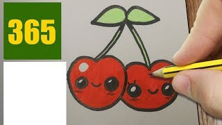 HOW TO DRAW A CHERRY CUTE, Easy step by step drawing lessons for kids