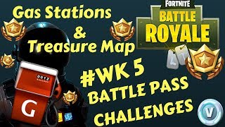 "Fortnite - Battle Pass Challenge Week 5 - ""Gas Stations"" & ""Treasure Map Anarchy"""