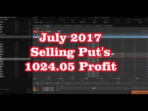 July 2017 - Selling Put Options Credit Spreads - $1024.05 Profit