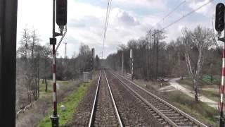 Odcinek Bielsko-Biała - Katowice z tyłu pociągu EIC Ondraszek