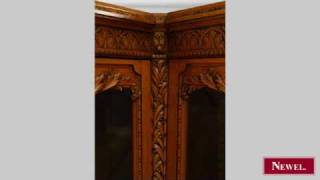 Antique French Victorian Walnut Carved Corner Cabinet With