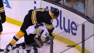 Scrum in OT. Malkin, Chara, Lucic, Cooke. 6/5/13 Pittsburgh Penguins vs Boston Bruins NHL Hockey thumbnail