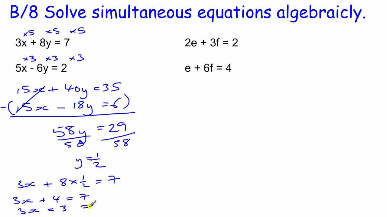 GCSE Core Maths Skills revision B/8 Simultaneous equations ...