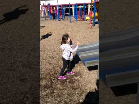 Coco down the slide at lake grove school 2/2015