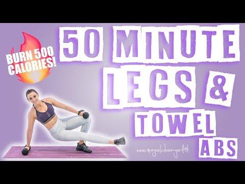 50 Minute Legs & Towel Abs Workout 🔥Burn 500 Calories! 🔥