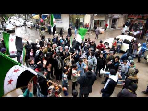 دمشق جوبر .1-9-2013.  مظاهرة حماسية مع هطول الثلج
