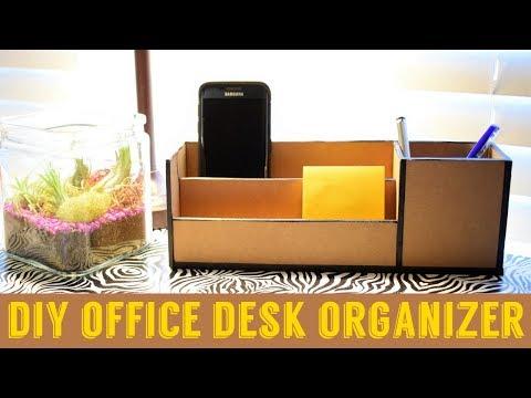 DIY: Office cardboard desk organizer as same as wooden desk organize