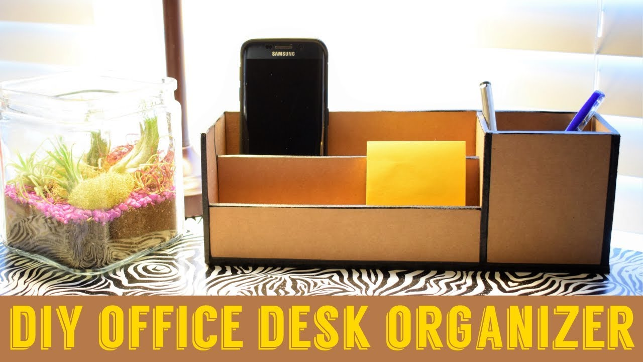 Diy Office Cardboard Desk Organizer As