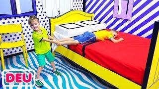 Vlad und Nikita Spaß Tag im Selfie Museum und Spielzentrum für Kinder