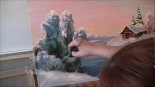 Люба Дикер Зимний пейзаж маслом