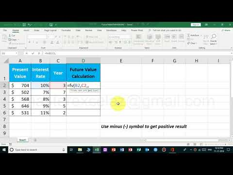 Future value calculation using FV formula in MS Excel 2019 Office 365