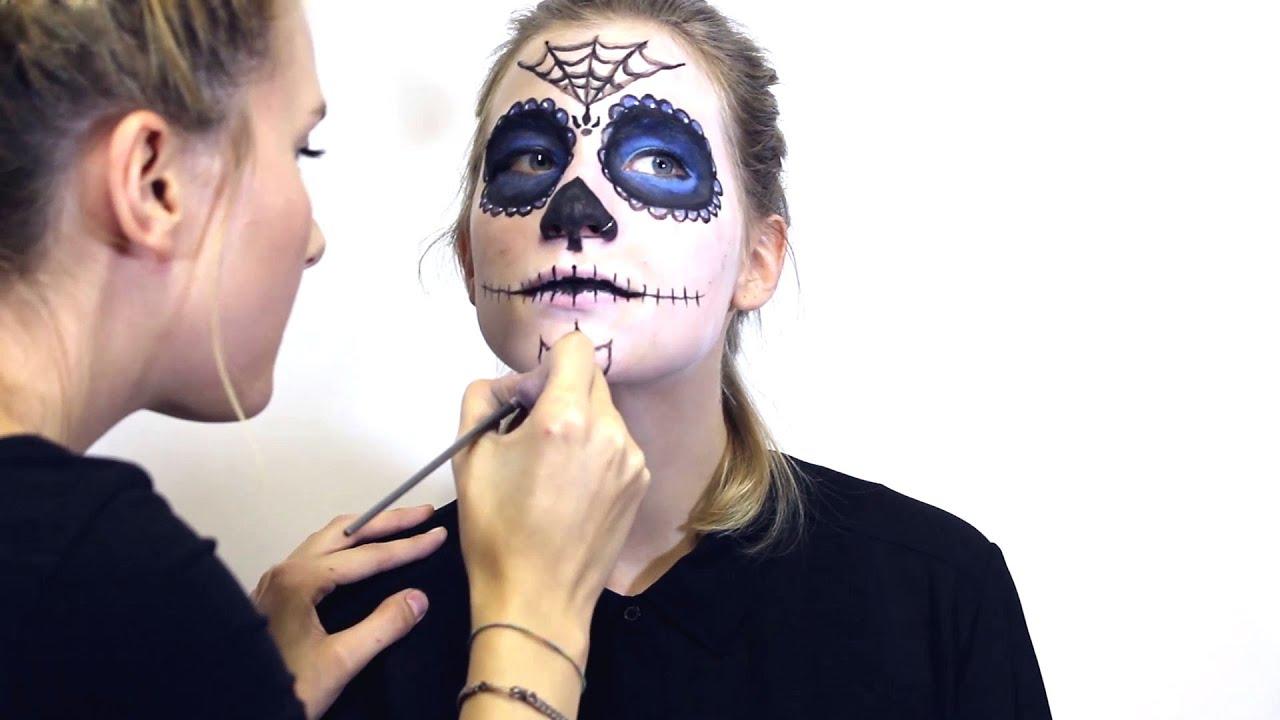 Sugar skull halloween totenkopf schmink anleitung diy tutorial youtube - Mexikanische totenmaske schminken ...