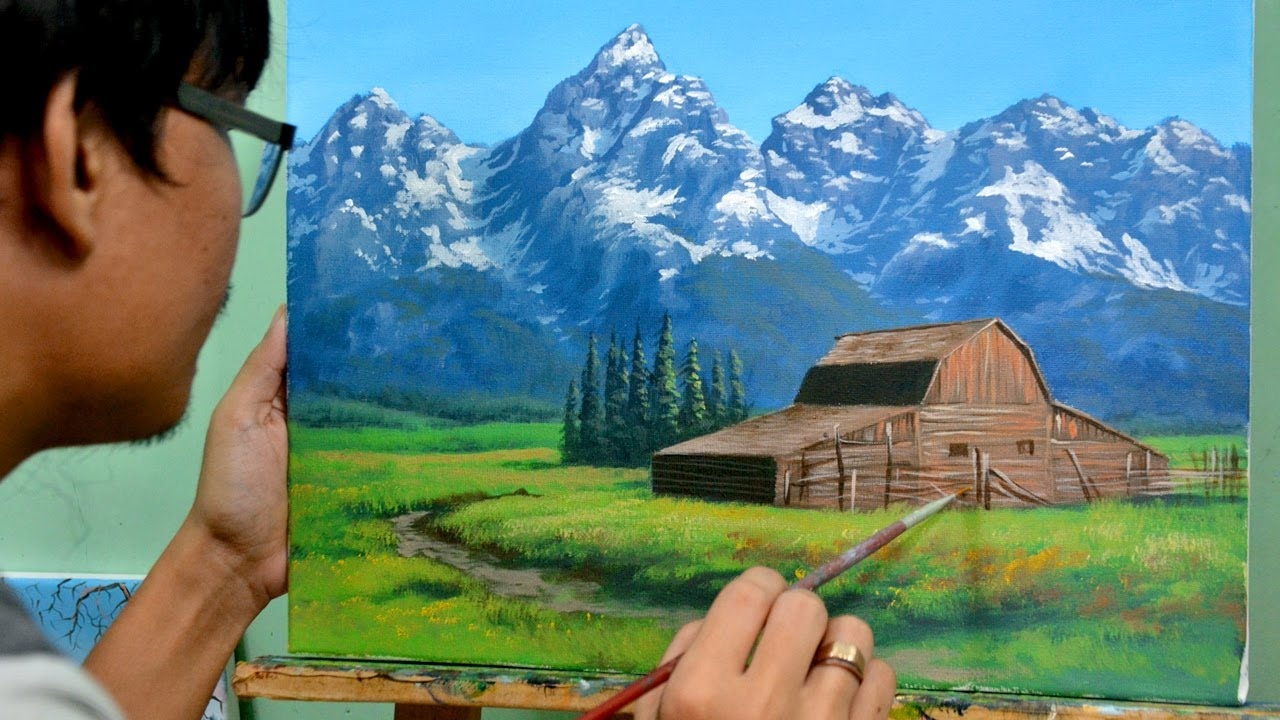 STEP by STEP Rustic Barn Landscape with Snowy Mountain | Painting Tutorial in Acrylics