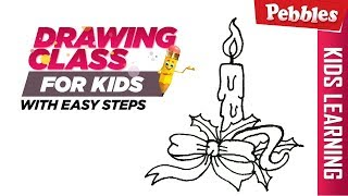 How to draw christmas candle | Easy Step by step drawing | Christmas special Drawing for kids