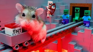MAJOR HAMSTER vs ZOMBIES - Lego MINECRAFT TREASURE HUNT