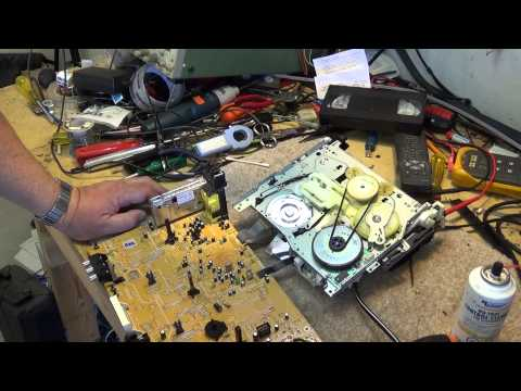 Panasonic VHS Z chassis mode switch cleaning and tape path alignment