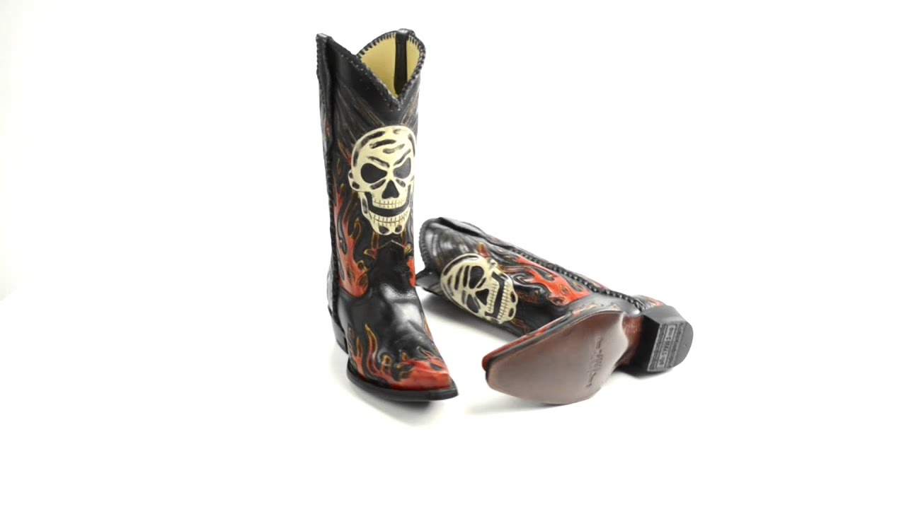 Corral Boots Skull Flame Cowboy Boots - Tooled Leather, Pointed ...