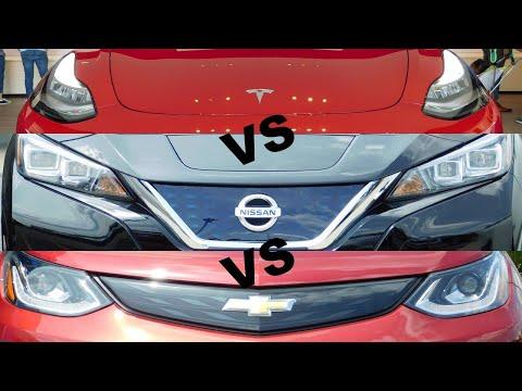 2019 Tesla Model 3 Vs 2019 Chevy Bolt Vs 2019 Nissan Leaf--Comparison