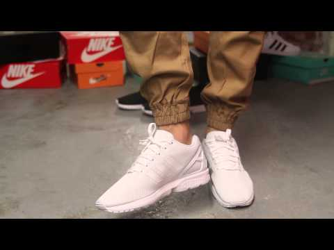 Adidas ZX Flux White - White On-feet Video at Exclucity