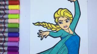 어린이를 위한 겨울왕국 엘사 그리기 색칠하기