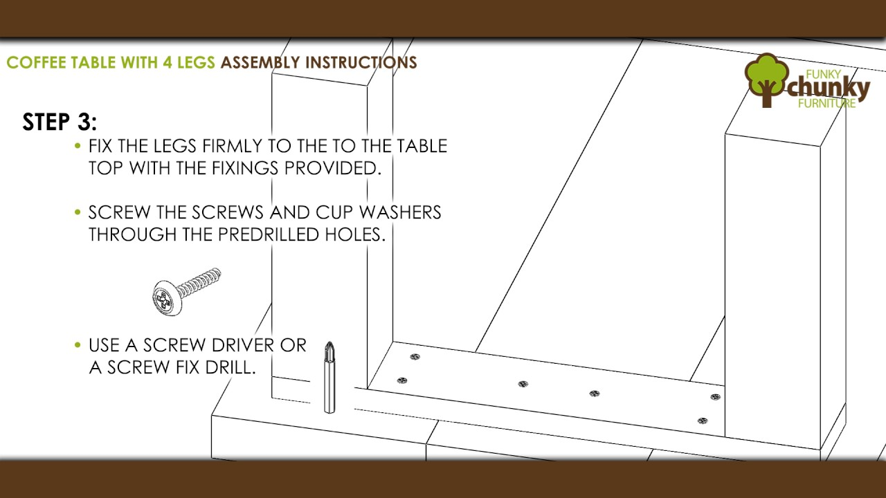 4 Leg Coffee Tables Side Console Table Assembly Instructions