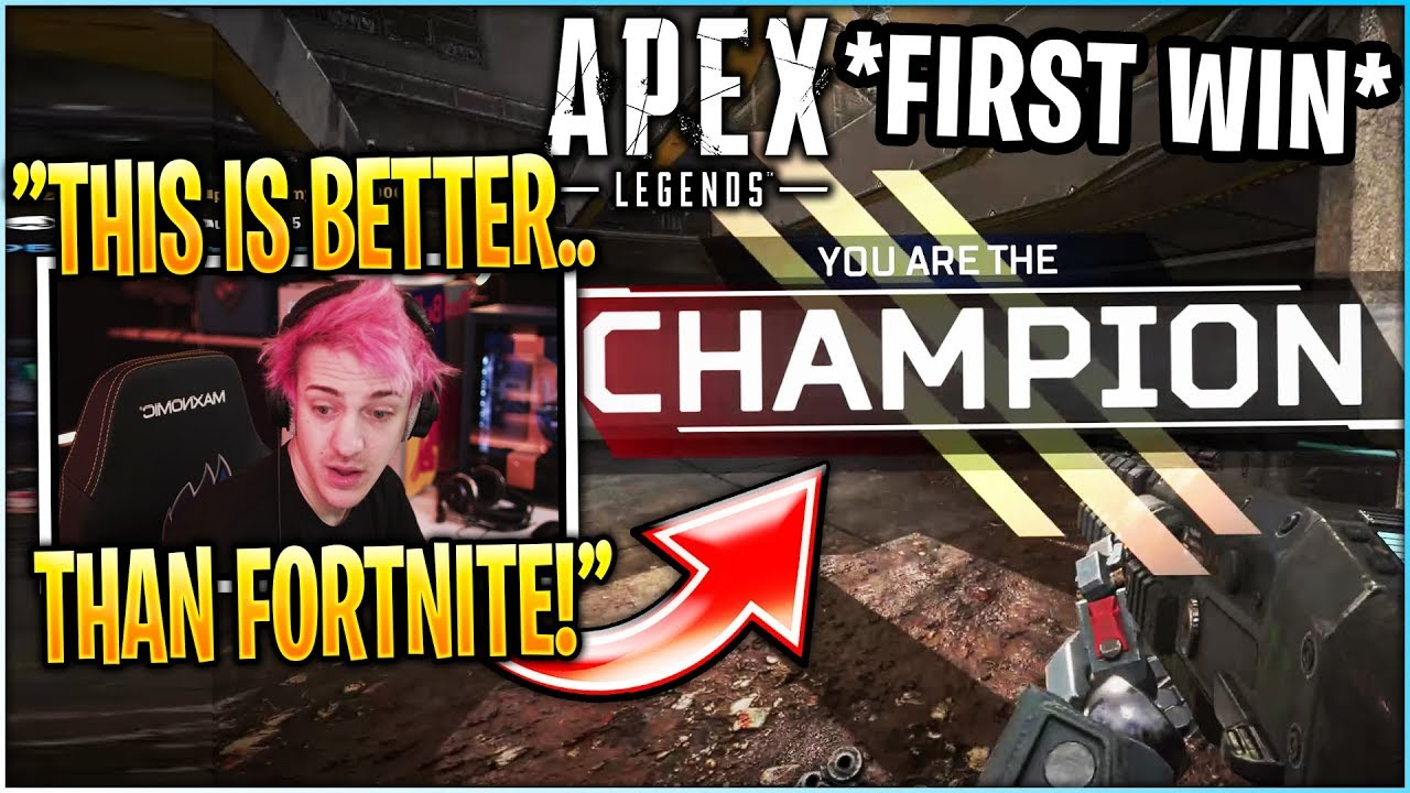 Ninja Gets His *FIRST* WIN In APEX LEGENDS! (First Time Playing)
