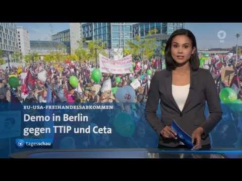 ARD Tagesschau - Zehntausende Teilnehmer demonstrieren gegen TTIP und Ceta in Berlin - 10.10.2015