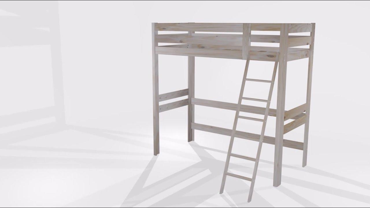 Montaje de la cama alta lufe youtube for Estructura de cama alta ikea