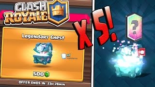 Clash Royale |  5 LEGENDARY CHESTS! New Legendary Chest Gameplay! Best Legendary Chest Opening!!