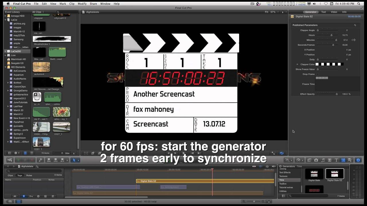 FCPX generator: Digital Slate EZ (Film/Video Slate/Clapperboard/Clapboard +  Free Font)