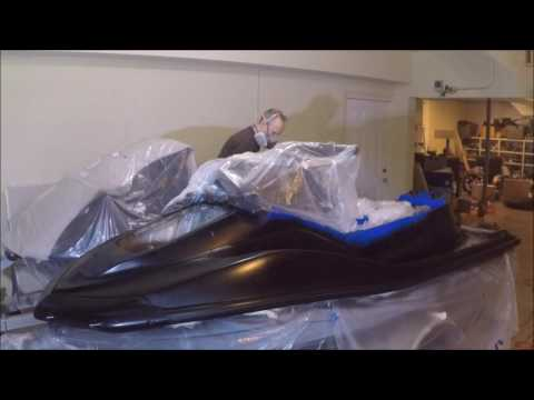 Painting a Jetski Stealth Black in 2 mins. Rattle Can Spray paint job  (PWC)