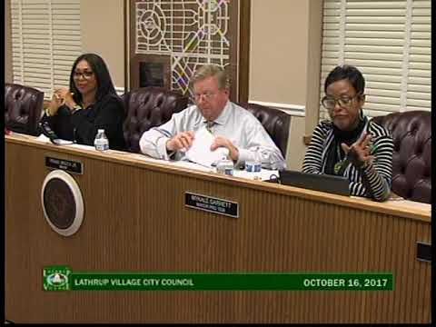 Lathrup Village City Council, October 16, 2017