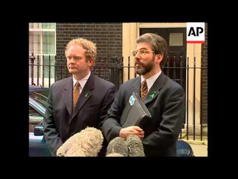 UK: SINN FEIN LEADER ADAMS IN LONDON FOR TALKS WITH TONY BLAIR
