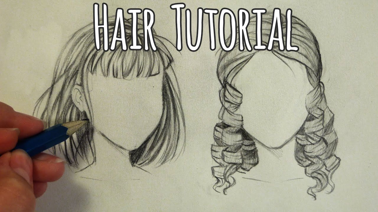 draw hair - curly and straight