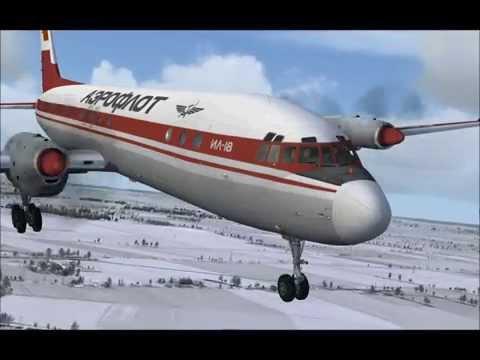 Aeroflot IL 18 R6 Kaliningrad landing