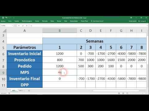 Plan Maestro de ProducciónEjemplo en Excel