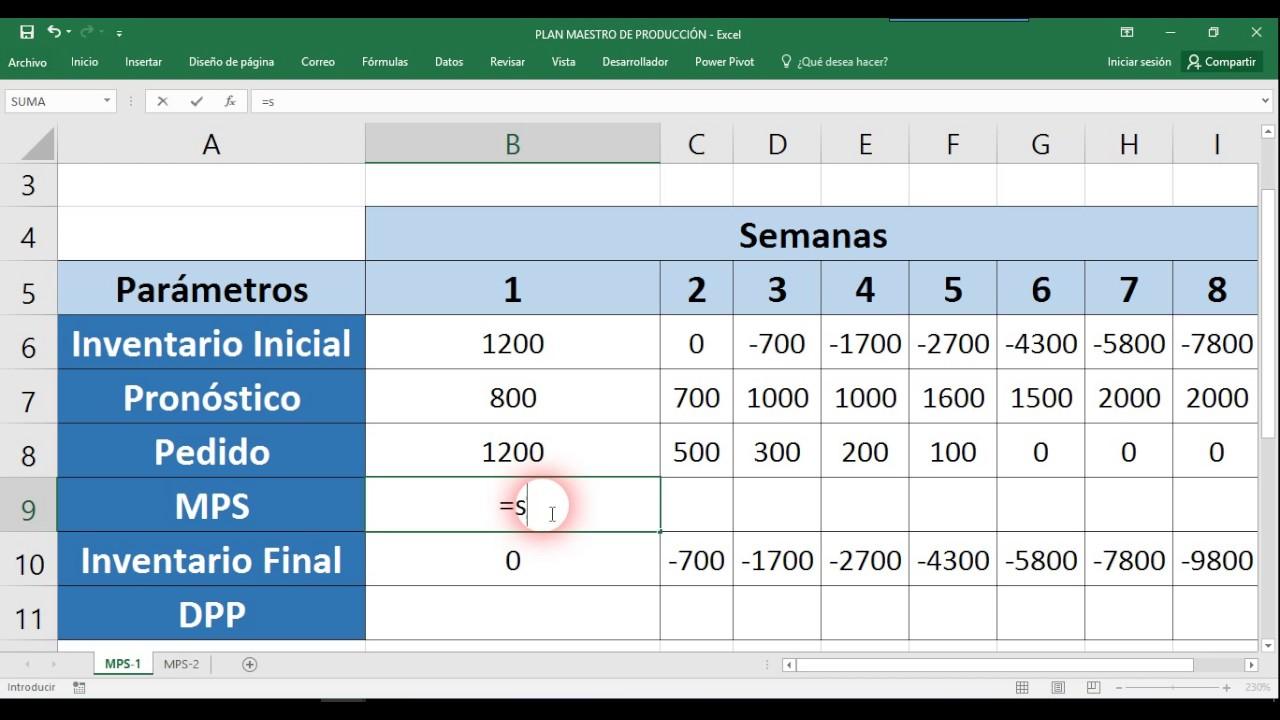 Plan Maestro de Producción Ejemplo en Excel - YouTube